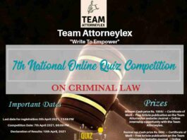 Team Attorneylex is organizing its 7th National Online Quiz Competition.