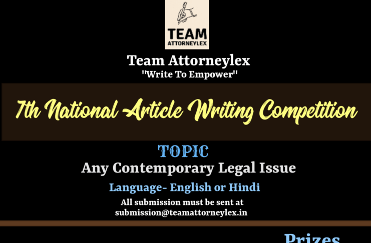 7th National Article Writing Competition Organised By Team Attorneylex: Register by May 02