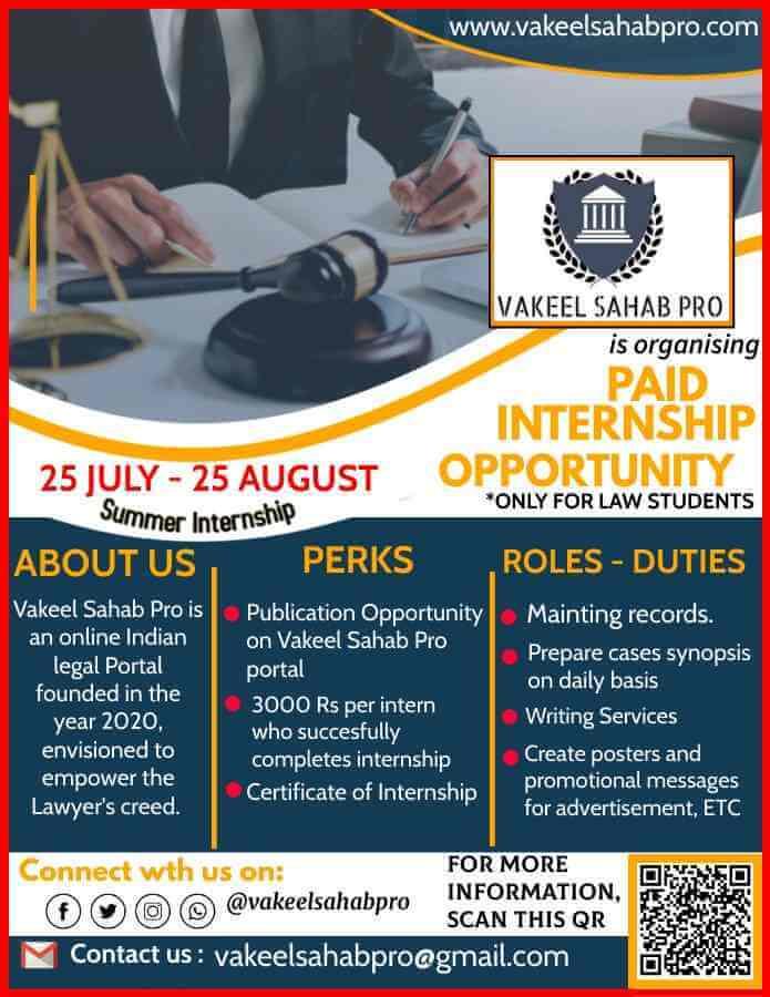 Paid Summer Internship Opportunity of 30 days @ Vakeel Sahab Pro