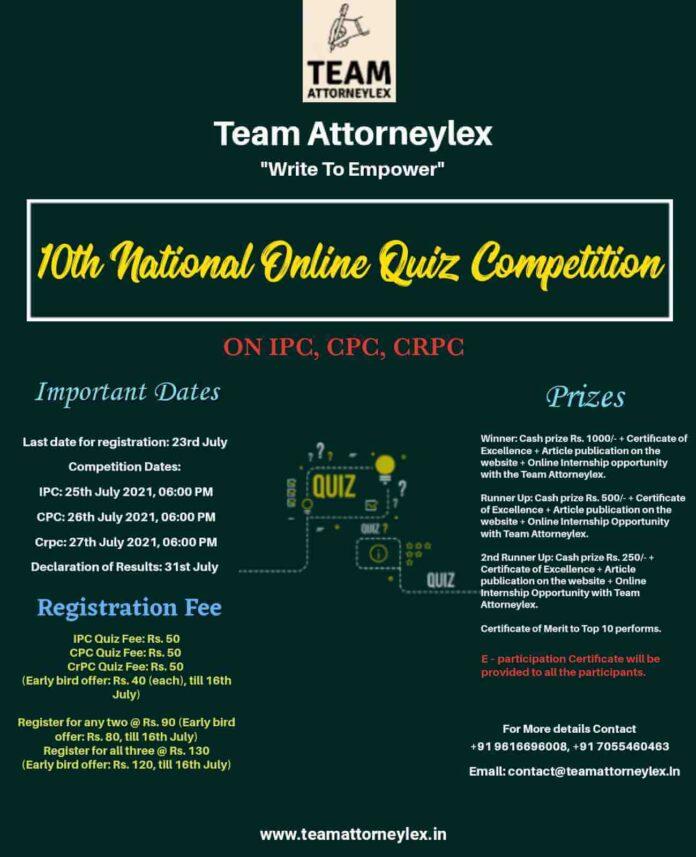 National Online Quiz Competition - By Team Attorneylex